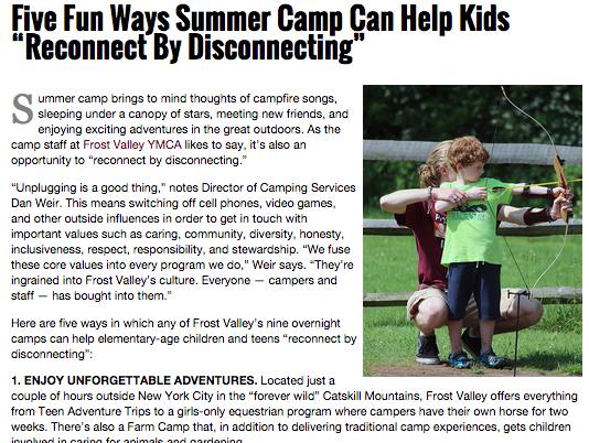 Hudson Valley Magazine – 5 Fun Ways Summer Camp Can Help Kids Reconnect by Disconnecting