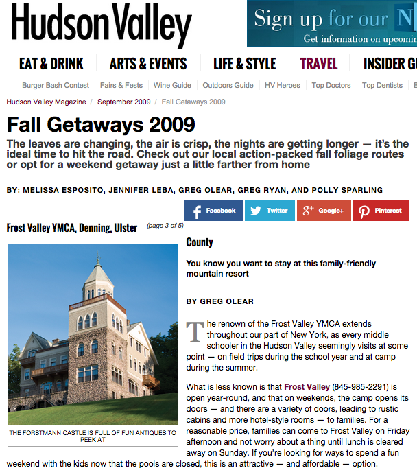 Hudson Valley Magazine - Fall Getaways – September 2009