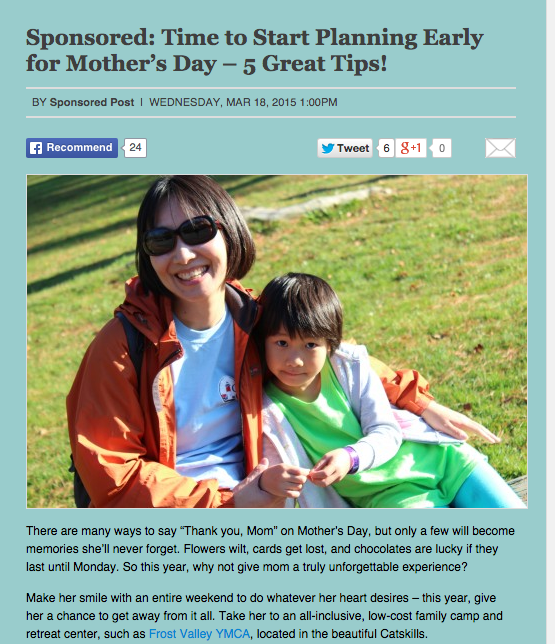 Baristanet – Time to Start Planning Early for Mother's Day – 5 Great Tips – March 2015