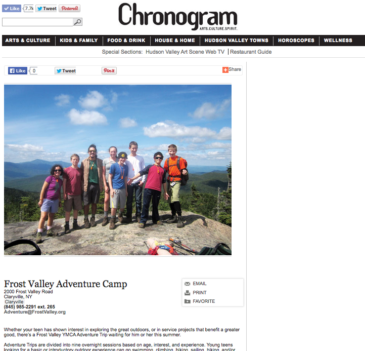 Chronogram – Frost Valley Adventure Camp – March 2015