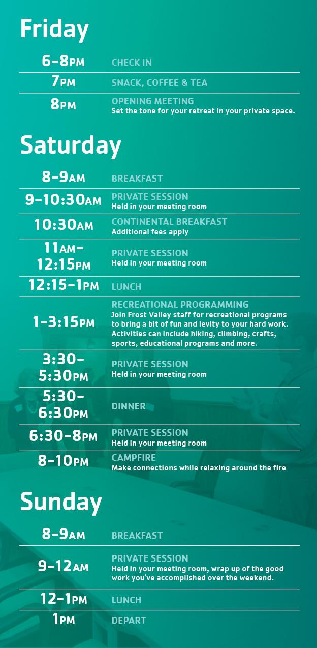 Sample Schedule Frost Valley Ymca