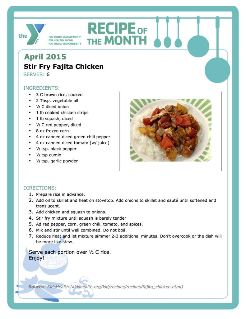 Recipe of the Month April 2015 Stir Fry Fajita Chicken